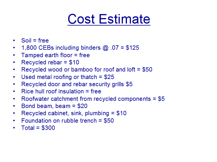 Jovoto 300 geopolymer ceb house 39 the 300 house for House building cost estimator