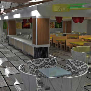 Restaurant interior changing from breakfast to dinner
