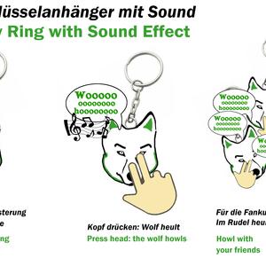Schlüsselanhänger mit Wolfsgeheul / Key Ring with Sound Effect