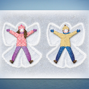 Happy kids / snow angels