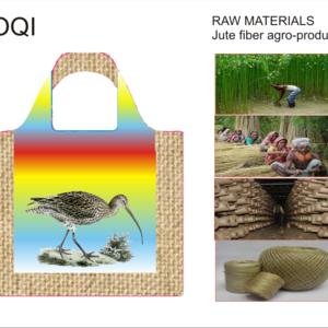 Title: LOQI: Nat  Nat    Natural Jute fiber Bag- Image with Eurasian Curlew Numenius arquata
