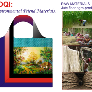 Natural Jute fiber Bag- Image with Art painting works.
