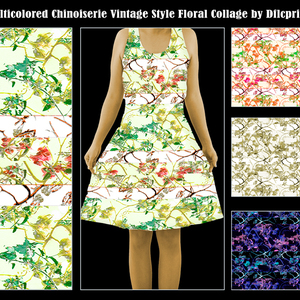 Multicolored Chinoiserie Vintage Floral Collage