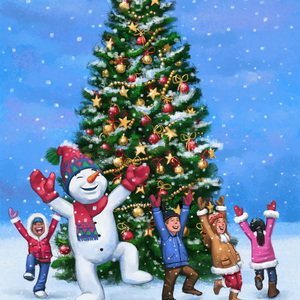 Happy children and snowman dancing around a christmas tree