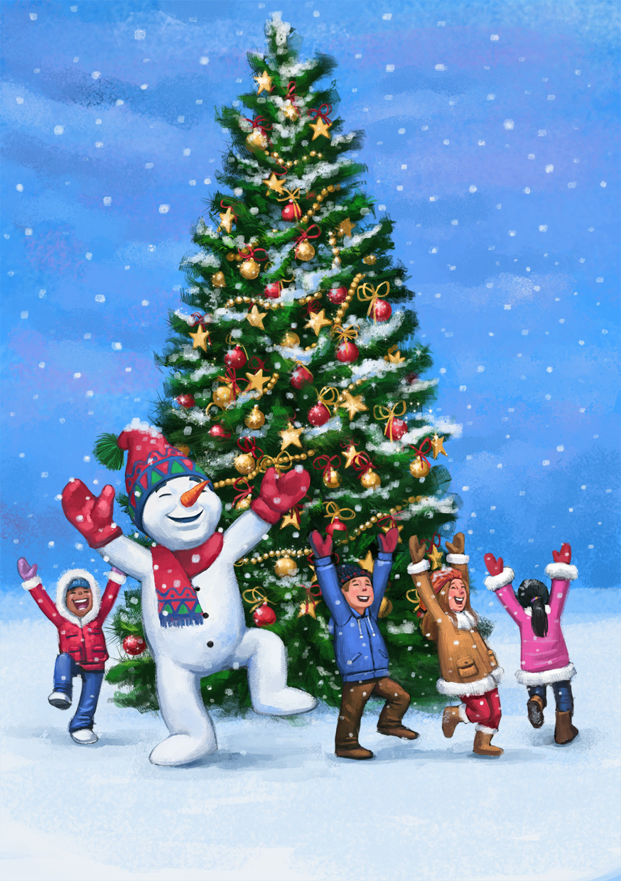 jovoto / Happy children and snowman dancing around a christmas tree ...