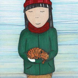 Girl & tiger cub
