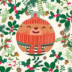 Holiday Card with Happy Bear
